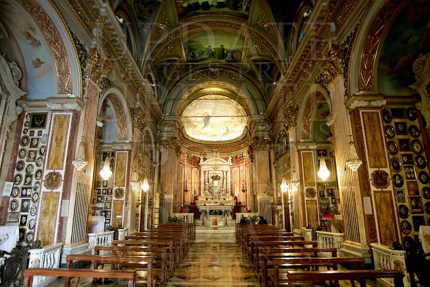 L'interno del Santuario di Montallegro, presso Rapallo.<br /> Interior view of the sanctuary of Montallegro, near Rapallo.<br /> UPDATE IMAGES PRESS/Riccardo De Luca