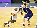 Spain's Victor Claver (r) and USA's LeBron James during friendly match.July 24,2012. (ALTERPHOTOS/Acero)
