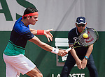May 27, 2016:  Milos Raonic (CAN) defeated Andrei Martin (SVK) 7-6, 6-2, 6-3, at the Roland Garros being played at Stade Roland Garros in Paris, .  ©Leslie Billman/Tennisclix/CSM