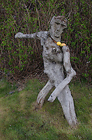 Wood Mannequin Sculpture, Kodiak Island, Alaska, US