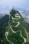 Rio de Janeiro, Brazil. Christ statue, aerial shot showing the road winding up Corcovado mountain to the top.