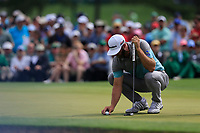 Dustin Johnson (USA) on the 2nd green during the 2nd round at the The Masters , Augusta National, Augusta, Georgia, USA. 12/04/2019.<br /> Picture Fran Caffrey / Golffile.ie<br /> <br /> All photo usage must carry mandatory copyright credit (© Golffile | Fran Caffrey)