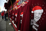 Liverpool manager Jurgen Klopp appears on Christmas jumpers outside the Premier League match at Anfield Stadium, Liverpool. Picture date: December 11th, 2016.Photo credit should read: Lynne Cameron/Sportimage