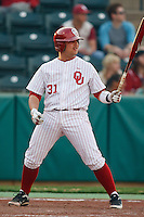 Tanner Toal (31) ready to bat during the NCAA matchup between the University of Arkansas-Little Rock Trojans and the University of Oklahoma Sooners at L. Dale Mitchell Park in Norman, Oklahoma; March 11th, 2011.  Oklahoma won 11-3.  Photo by William Purnell/Four Seam Images