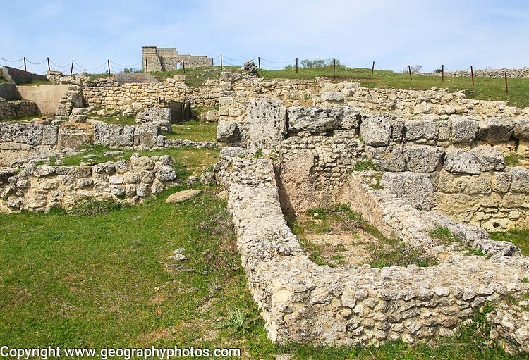 Domus building ruins of Acinipo Roman archaeological site, Ronda la Vieja, Cadiz province, Spain