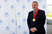 Former APC President Greg Hartung is awarded the Paralympic Order by IPC President Andrew Parsons (BRA) <br /> The Locker Room Roof Top Bar <br /> Sydney Olympic Park<br /> Tuesday 15 Oct 2019 Paralympics Australia<br /> © STL / Jeff Crow / Paralympics Australia