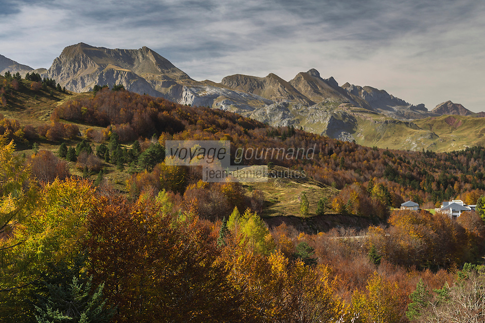 Europe, France, Aquitaine, Pyrénées-Atlantiques, Béarn, Vallée d'Aspe depuis le Col du Somport // Europe, France, Aquitaine, Pyrenees Atlantiques, Bearn, Aspe Valley since Somport