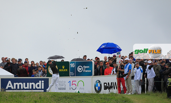 Rory McIlroy (NIR) on the 16th tee during Round 4 of the 100th Open de France, played at Le Golf National, Guyancourt, Paris, France. 03/07/2016. <br /> Picture: Thos Caffrey | Golffile<br /> <br /> All photos usage must carry mandatory copyright credit   (&copy; Golffile | Thos Caffrey)