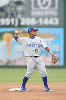 Franklin Barreto (10) of the Stockton Ports throws during a game against the Inland Empire 66ers at San Manuel Stadium on June 28, 2015 in San Bernardino, California. Stockton defeated Inland Empire, 4-1. (Larry Goren/Four Seam Images)