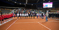 Februari 07, 2015, Apeldoorn, Omnisport, Fed Cup, Netherlands-Slovakia, Presentation<br /> Photo: Tennisimages/Henk Koster