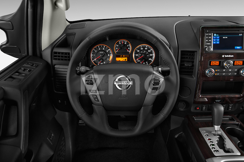 Steering wheel view of a 2013 Nissan Titan SL Crew Cab 2wd