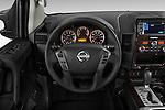 Steering wheel view of a 2013 Nissan Titan SL Crew Cab 2wd