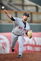 Wisconsin Timber Rattlers starting pitcher Jordan Desguin (28) throws in the bullpen prior to the game against the Cedar Rapids Kernels at Veterans Memorial Stadium on April 13, 2017 in Cedar Rapids, Iowa.  The Kernels won 2-1.  (Dennis Hubbard/Four Seam Images)