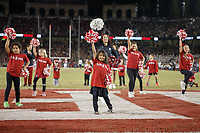 Stanford, CA - November 18, 2017: Young cheerleaders, young and old,  during the Stanford vs California football game Saturday night at Stanford Stadium.<br /> <br /> The Stanford Cardinal defeated the California Golden Bears 17 to 14.