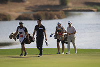 Martin Kaymer (GER) and Brandon Stone (RSA) on the 18th fairway during the final round of the DP World Tour Championship, Jumeirah Golf Estates, Dubai, United Arab Emirates. 18/11/2018<br /> Picture: Golffile | Fran Caffrey<br /> <br /> <br /> All photo usage must carry mandatory copyright credit (© Golffile | Fran Caffrey)