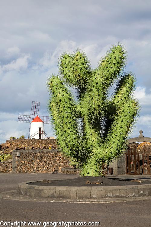 Giant green cactus sculpture outside Jardin de Cactus, César Manrique, Guatiza, Lanzarote, Canary Islands, Spain