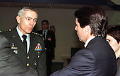 Visit to North Atlantic Treaty Organization (NATO) Headquarters in Brussels, Belgium on May 25, 1999 of the Prime Minister of Spain, Mr. Jose Maria Aznar.  Left to right:  United States Army General Wesley Clark, Supreme Allied Commander Europe (SACEUR) talking with Mr. Jose Maria Aznar.  .Credit: NATO via CNP