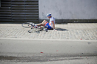 An unfortunate Sébastien Chavanel (FRA/FDJ) was run over by his own tem car, after that one was hit in the rear by the neutral support car<br /> <br /> 99th Ronde van Vlaanderen 2015