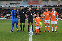 The match officials pose with Gillingham's Max Ehmer and Blackpool's Jay Spearing before kick-off<br /> <br /> Photographer Kevin Barnes/CameraSport<br /> <br /> The EFL Sky Bet League One - Blackpool v Gillingham - Saturday 4th May 2019 - Bloomfield Road - Blackpool<br /> <br /> World Copyright © 2019 CameraSport. All rights reserved. 43 Linden Ave. Countesthorpe. Leicester. England. LE8 5PG - Tel: +44 (0) 116 277 4147 - admin@camerasport.com - www.camerasport.com