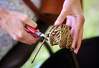 Pictured: Willow weaving Saturday 13 August 2016<br />Re: Grow Wild event at  Furnace to Flowers site in Ebbw Vale, Wales, UK
