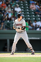 Sam Huff (25) of the Hickory Crawdads bats in a game against the Greenville Drive on Tuesday, April 30, 2019, at Fluor Field at the West End in Greenville, South Carolina. Hickory won, 5-4. (Tom Priddy/Four Seam Images)