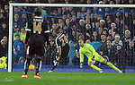Riyad Mahrez of Leicester City scores the opening goal of the game past Everton goalkeeper Tim Howard<br /> - Barclays Premier League - Everton vs Leicester City - Goodison Park - Liverpool - England - 19th December 2015 - Pic Robin Parker/Sportimage