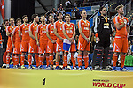 Leipzig, Germany, February 08: Team of The Netherlands during the national anthem at the World Cup Trophy after defeating Austria 3-2 to win the FIH Indoor Hockey Men World Cup on February 8, 2015 at the Arena Leipzig in Leipzig, Germany. (Photo by Dirk Markgraf / www.265-images.com) *** Local caption ***