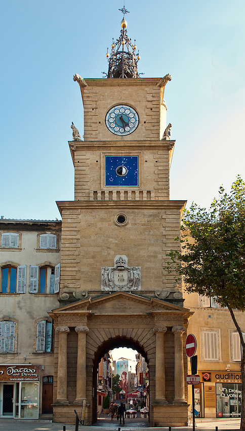 Street side view of the clock tower in Salon-de-Provence, Provence, France