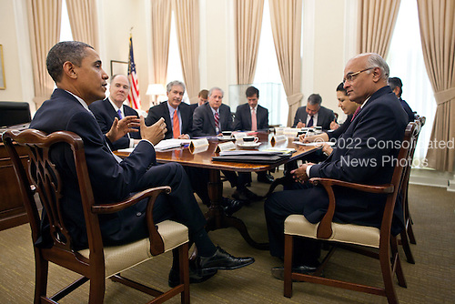 United States President Barack Obama talks with National Security Advisor Shivshankar Menon of India who was attending a meeting in National Security Advisor Tom Donilon's office in the White House, Friday, January 28, 2011. .Mandatory Credit: Pete Souza - White House via CNP