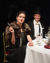 London, UK. 15.05.2013. Ruby in the Dust present HUTCH, a play with music about London's most popular cabaret star of the Jazz Age, at the Riverside Studios. Picture shows:  Imogen Daines (Edwina Mountbatten) and Andrew Mathys (Lord Louis Mountbatten). Photograph © Jane Hobson.