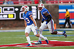 Southern Methodist Mustangs linebacker Brian Holloway (43) in action during the game between the Tulsa Golden Hurricanes and the SMU Mustangs at the Gerald J. Ford Stadium in Fort Worth, Texas.