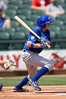 Iowa Cubs 3B Tony Campana (7) at bat against the Round Rock Express on April 10th, 2011 at Dell Diamond in Round Rock, Texas.  (Photo by Andrew Woolley / Four Seam Images)