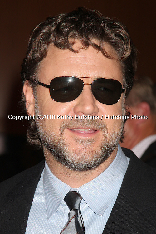 """LOS ANGELES - NOV 16:  Russell Crowe arrives at  """"The Next Three Days"""" LA Premiere  at Director's Guild Of America on November 16, 2010 in Los Angeles, CA"""