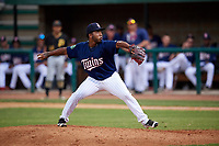Elizabethton Twins relief pitcher Moises Gomez (47) delivers a pitch during a game against the Bristol Pirates on July 29, 2018 at Joe O'Brien Field in Elizabethton, Tennessee.  Bristol defeated Elizabethton 7-4.  (Mike Janes/Four Seam Images)