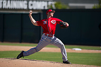 Cincinnati Reds pitcher Wyatt Strahan (31) delivers a pitch to the plate during an Instructional League game against the Oakland Athletics on September 29, 2017 at Lew Wolff Training Complex in Mesa, Arizona. (Zachary Lucy/Four Seam Images)
