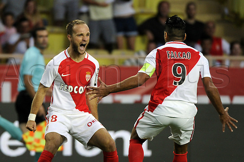 03.08.2016. Monaco, France. UEFA Champions league qualifying round, AS Monaco versus Fenerbahce.  Goal celebrations from Germain (mon)