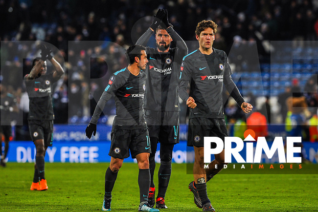 Chelsea's Marcus Alonso celebrates the win with Olivier Giroud and Pedro during the FA Cup QF match between Leicester City and Chelsea at the King Power Stadium, Leicester, England on 18 March 2018. Photo by Stephen Buckley / PRiME Media Images.