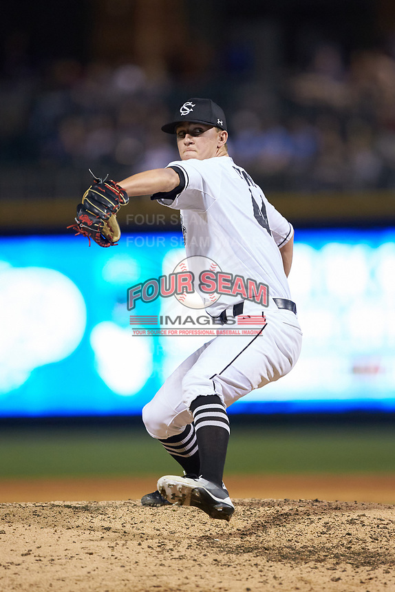 South Carolina Gamecocks relief pitcher Parker Coyne (44) in action against the North Carolina Tar Heels at BB&T BallPark on April 3, 2018 in Charlotte, North Carolina. The Tar Heels defeated the Gamecocks 11-3. (Brian Westerholt/Four Seam Images)