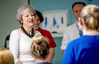 07 January 2019 - Liverpool, UK - Theresa May visits staff at Institute in the Park at Alder Hey Children's NHS Foundation Trust in Liverpool. The Prime Minister visits Alder Hey Hospital in Liverpool to launch a green paper setting out how the government will spend the extra £20.5billion pledged to the NHS. The Health Secretary Matt Hancock has indicated that the focus of the NHS over the next decade will be a shift to helping people stay healthy rather than just treating people when they are ill. Photo Credit: ALPR/AdMedia