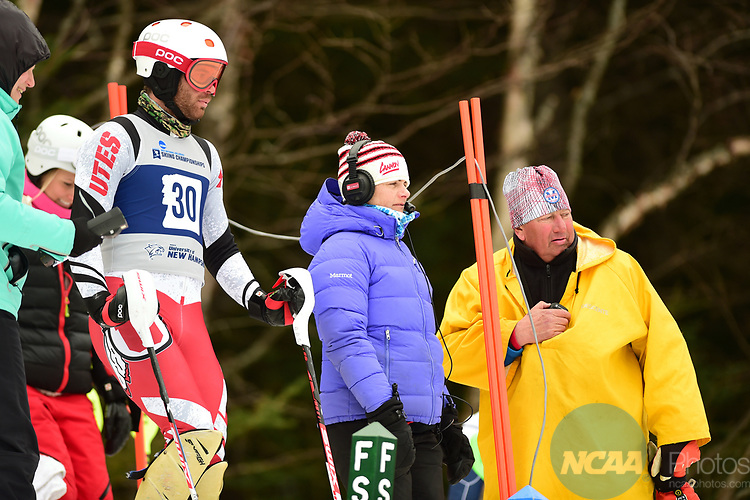 FRANCONIA, NH - MARCH 10:   Sam Dupratt of the University of Utah waits at the start during the Men's Slalom event at the Division I Men's and Women's Skiing Championships held at Cannon Mountain on March 10, 2017 in Franconia, New Hampshire. (Photo by Gil Talbot/NCAA Photos via Getty Images)