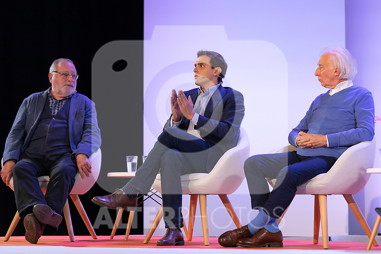 "(LtoR) Philosopher Fernando Savater, president of citizen Albert Rivera and dramatist Albert Boadella, during the citizen meeting ""Espana en marcha"". October 24, 2019. (ALTERPHOTOS/Johana Hernandez)"