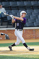 Kyle Brandenburg (5) of the High Point Panthers follows through on his swing against the Wake Forest Demon Deacons at Wake Forest Baseball Park on April 2, 2014 in Winston-Salem, North Carolina.  The Demon Deacons defeated the Panthers 10-6.  (Brian Westerholt/Four Seam Images)