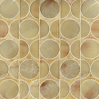 Rita, a stone water jet mosaic, shown in Honey Onyx and Giallo Reale, is part of the Ann Sacks Beau Monde collection sold exclusively at www.annsacks.com