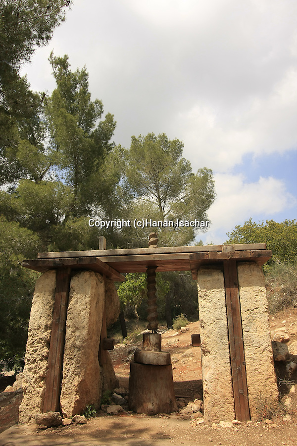 Israel, Jerusalem Mountains, an ancient olive press by road 375