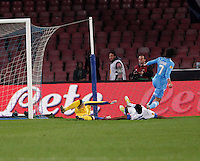 NAPOLI 08/11/2012 - GRUPPO F UEFA  EUROPA LEAGUE.INCONTRO NAPOLI - DNIPRO.NELLA FOTO   ESULTANZA GOL  EDINSON CAVANI 1 0.FOTO CIRO DE LUCA