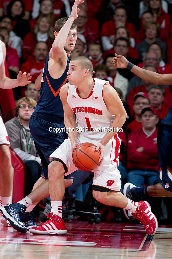 Wisconsin Badgers guard Ben Brust (1) handles the ball during an NCAA Big Ten Conference college basketball game against the Illinois Fighting Illini Saturday, January 12, 2013 in Madison, Wis. The Badgers won 74-51. (Photo by David Stluka)