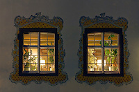 Germany, Baden-Wuerttemberg, Markgraefler Land, Inzlingen, castle, windows, illuminated restaurant
