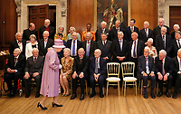 13 June 2017 - Richard Chartres The Bishop of London Valerie Amos George Osborne Dame Maggie Smith Lord Seb Sebastian Coe Michael Howard Judi Dench  Chris Patten Queen Elizabeth II and John Major Lord Norman Tebbit attend a reception after Evensong in celebration of the centenary of the Order of the Companions of Honour at the Hampton Court Palace, in Richmond upon Thames, in southwest London. Photo Credit: ALPR/AdMedia