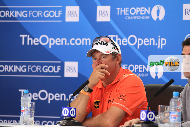 Lee WESTWOOD (ENG) talks with the media after  round 3 of  The 142th Open Championship Muirfield, Gullane, East Lothian, Scotland 20/7/2013<br /> Picture Eoin Clarke www.golffile.ie:
