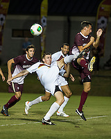 The Winthrop University Eagles played the College of Charleston Cougars at Eagles Field in Rock Hill, SC.  College of Charleston broke the 1-1 tie with a goal in the 88th minute to win 2-1.  Tam McGowan (2), Kyle Kennedy (19)